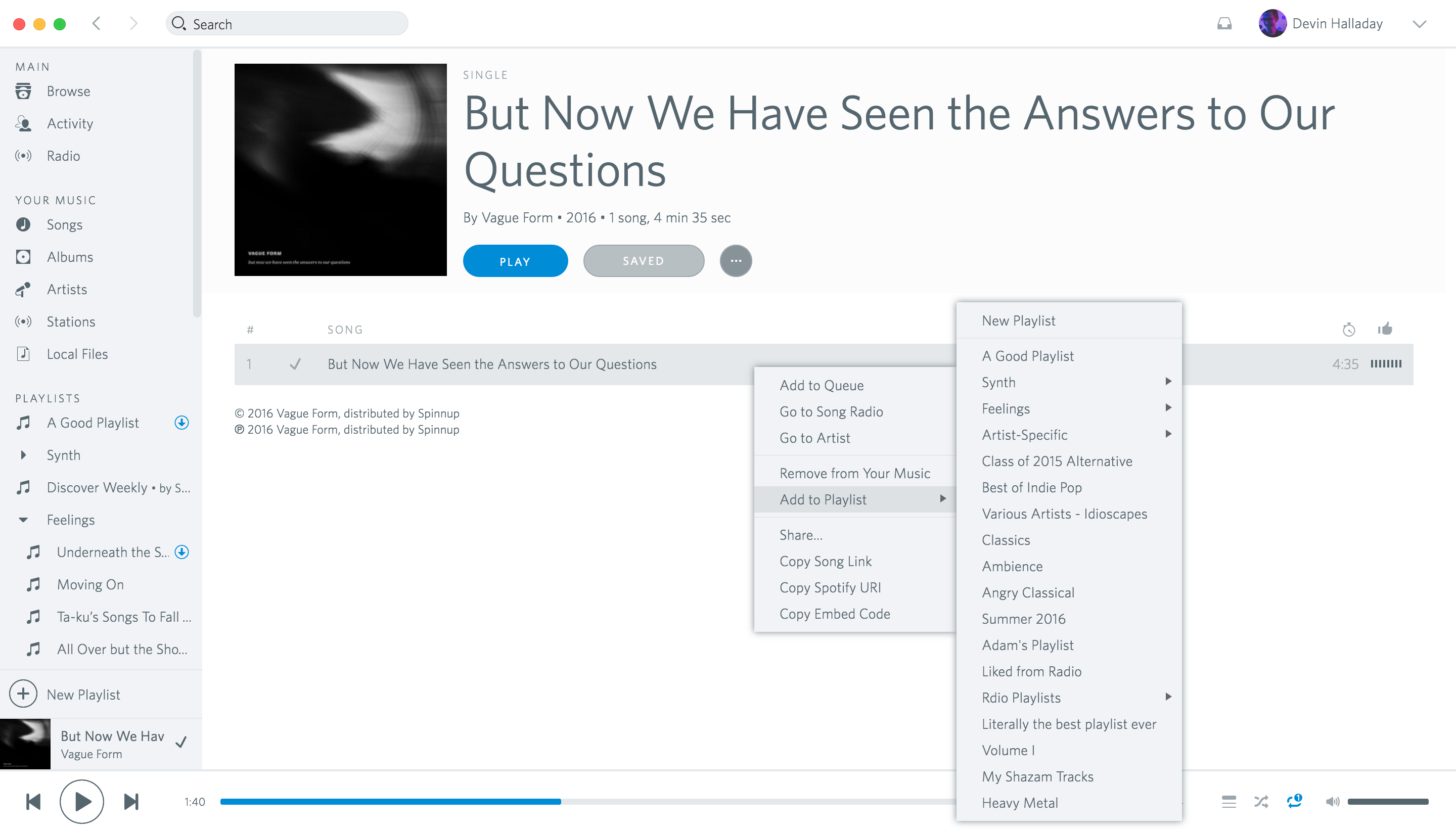 Screenshot of Spotio, an Rdio-inspired skin for Spotify